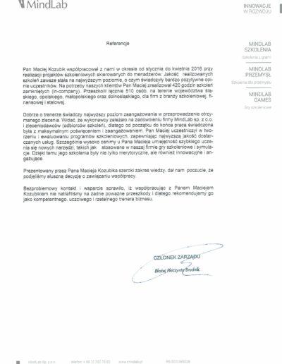 mindlab_referencje_Maciej-Kozubik
