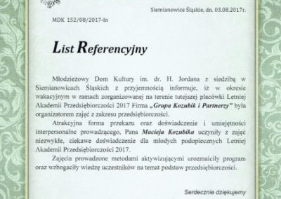 Młodzieżowy Dom Kultury_List referencyjny_Grupa Kozubik i Partnerzy
