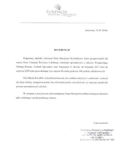 Maciej Kozubik szkolenia sprzedażowe